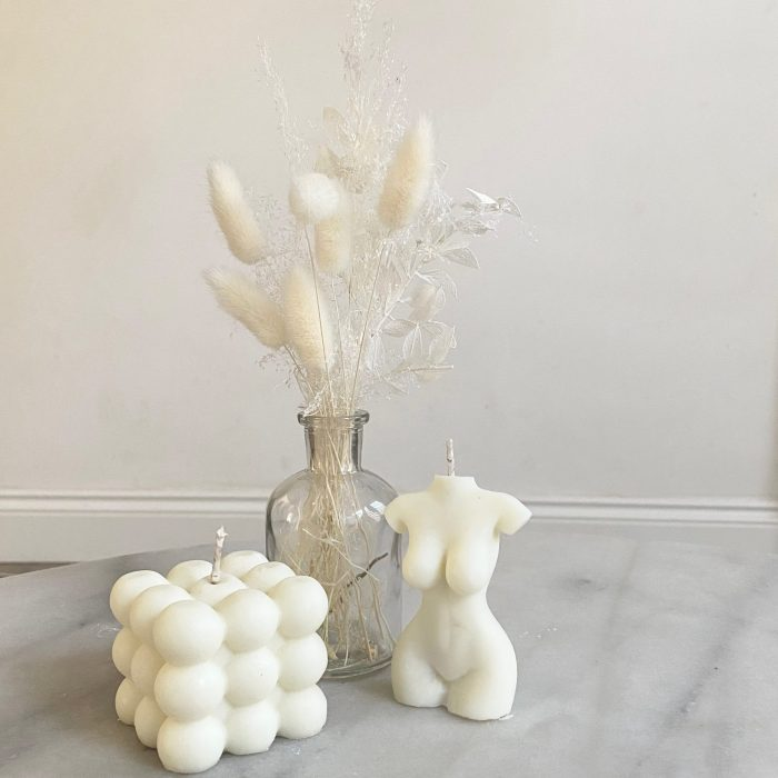 White Arrangement And Soy Candle Gift Set